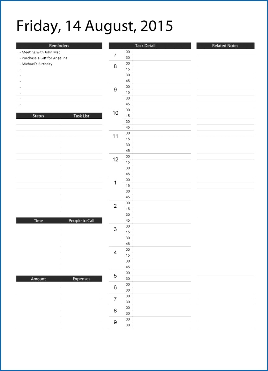40 Printable Daily Planner Templates Free Template Lab Daily  Printable Daily Schedule With Time