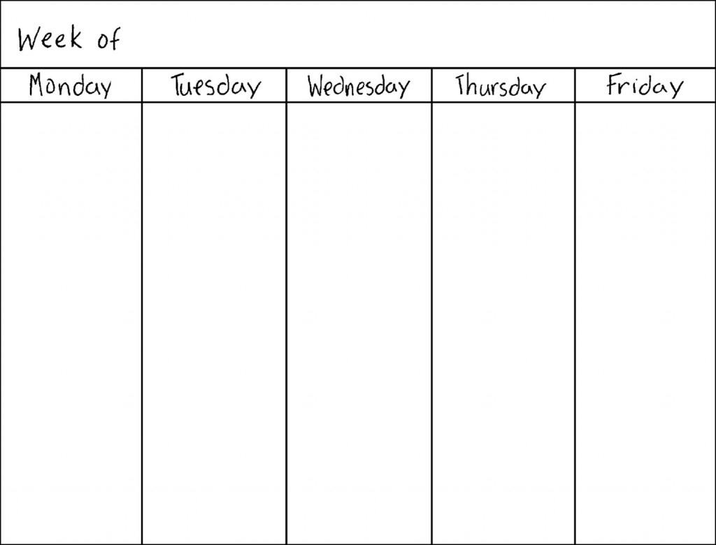 5 Day Monthly Calendar 2016 | Calendar Template 2018  5 Day Monthly Calendar Printable
