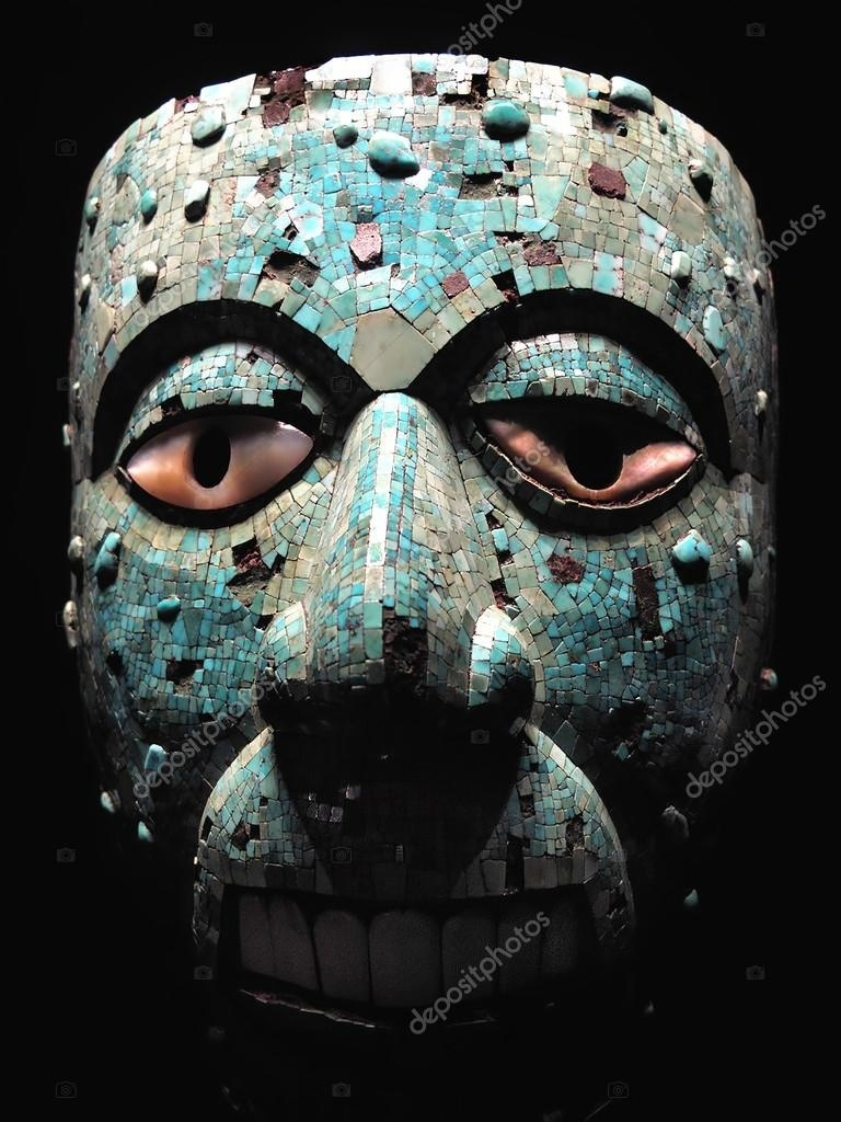 Ancient Aztec Mask — Stock Photo © Lenschanger #95880098  Aztec Masks And Ther Meanings