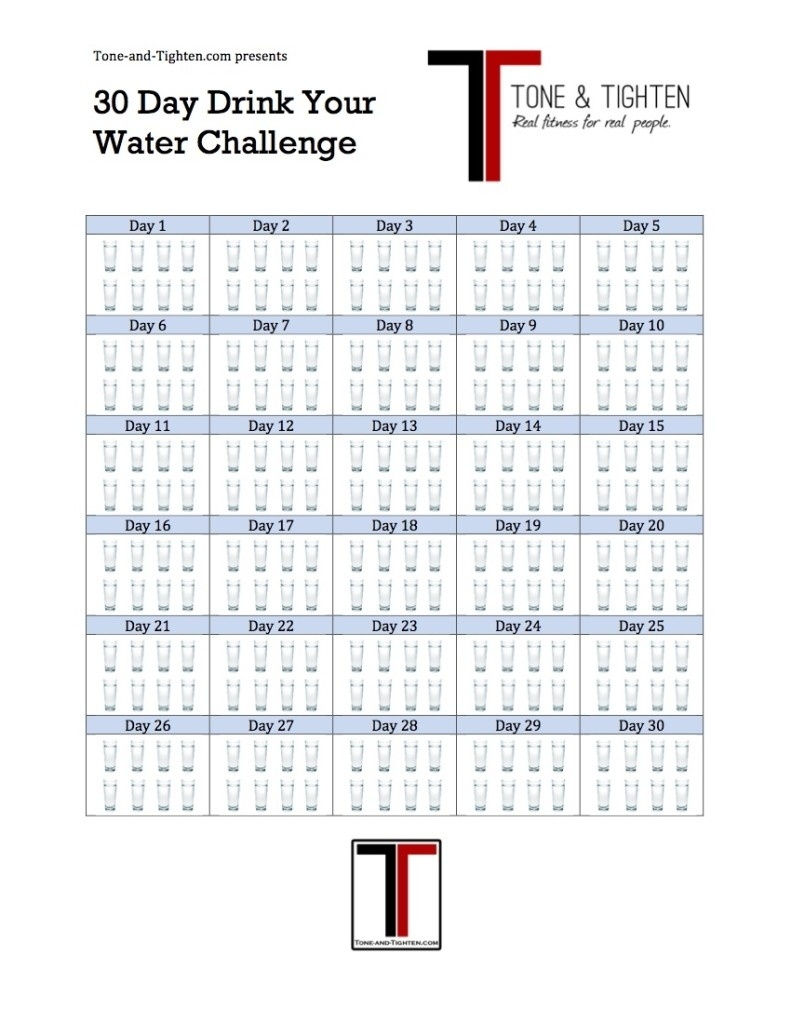Are You Drinking Enough Water? | Tone And Tighten  30 Day Water Challenge Printable