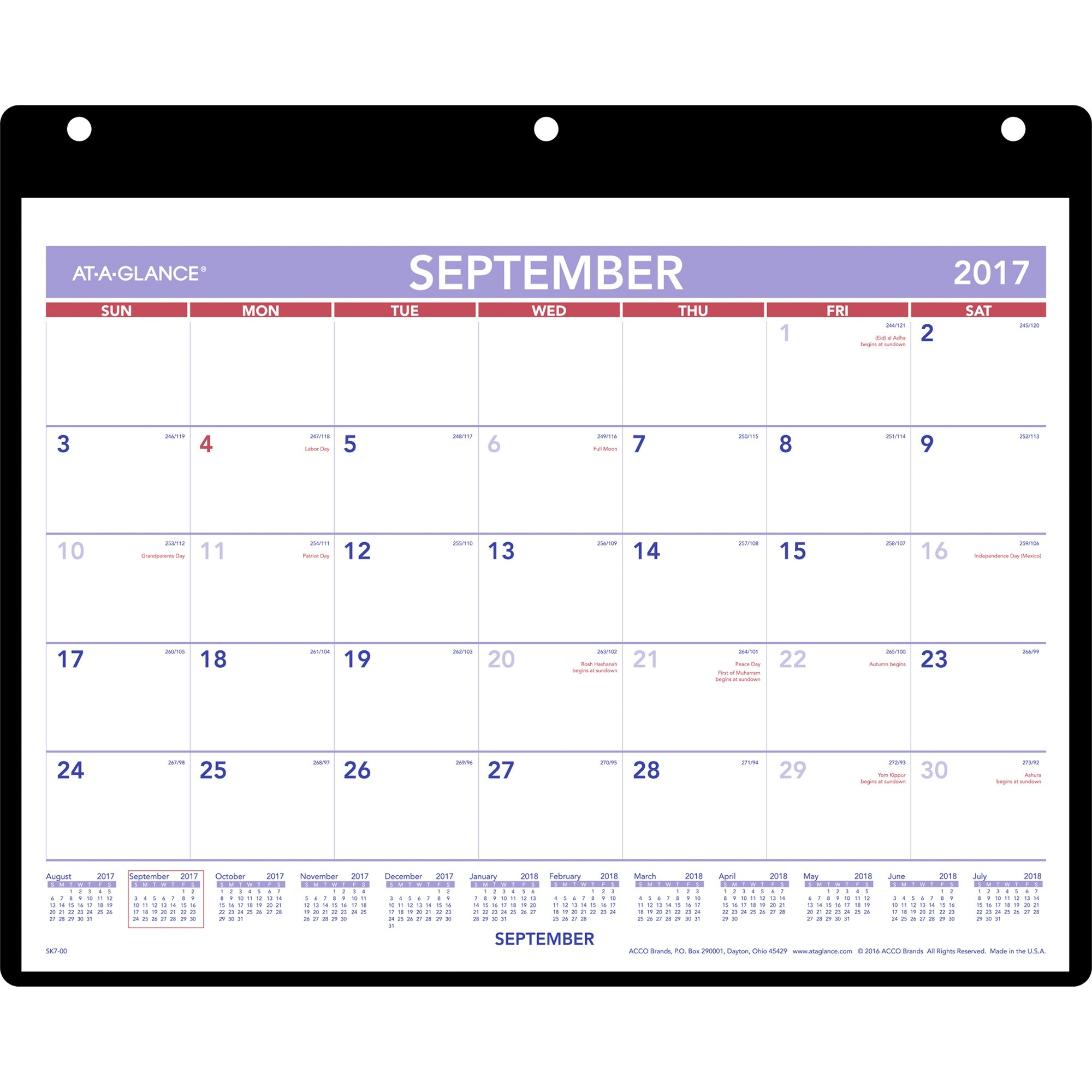 At-A-Glance Academic Monthly Desk/wall Calendar With Poly Holder  12 X 12 Wall Calendar Holder