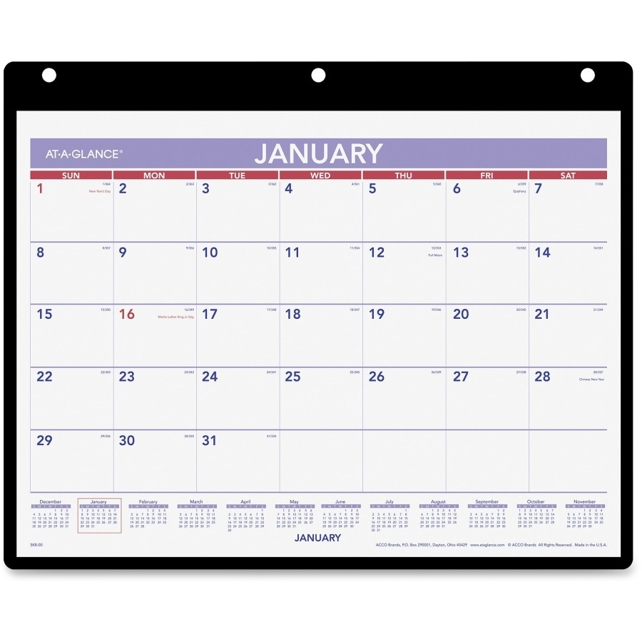 At-A-Glance Monthly Desk/wall Calendar With Poly Holder - Icc  12 X 12 Wall Calendar Holder