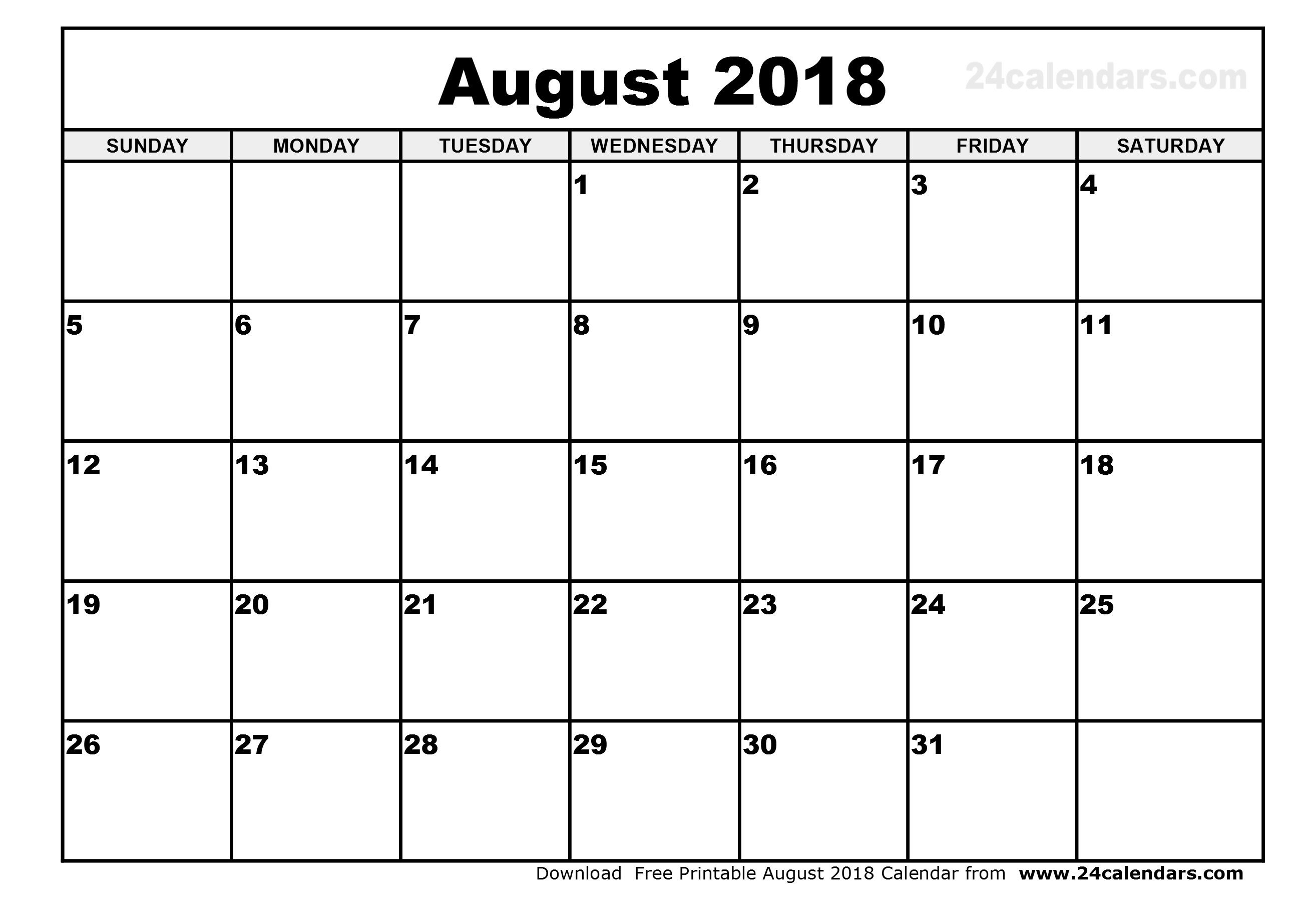 August 2018 Calendar | Month Printable Calendar  August Printable Calendar By Month