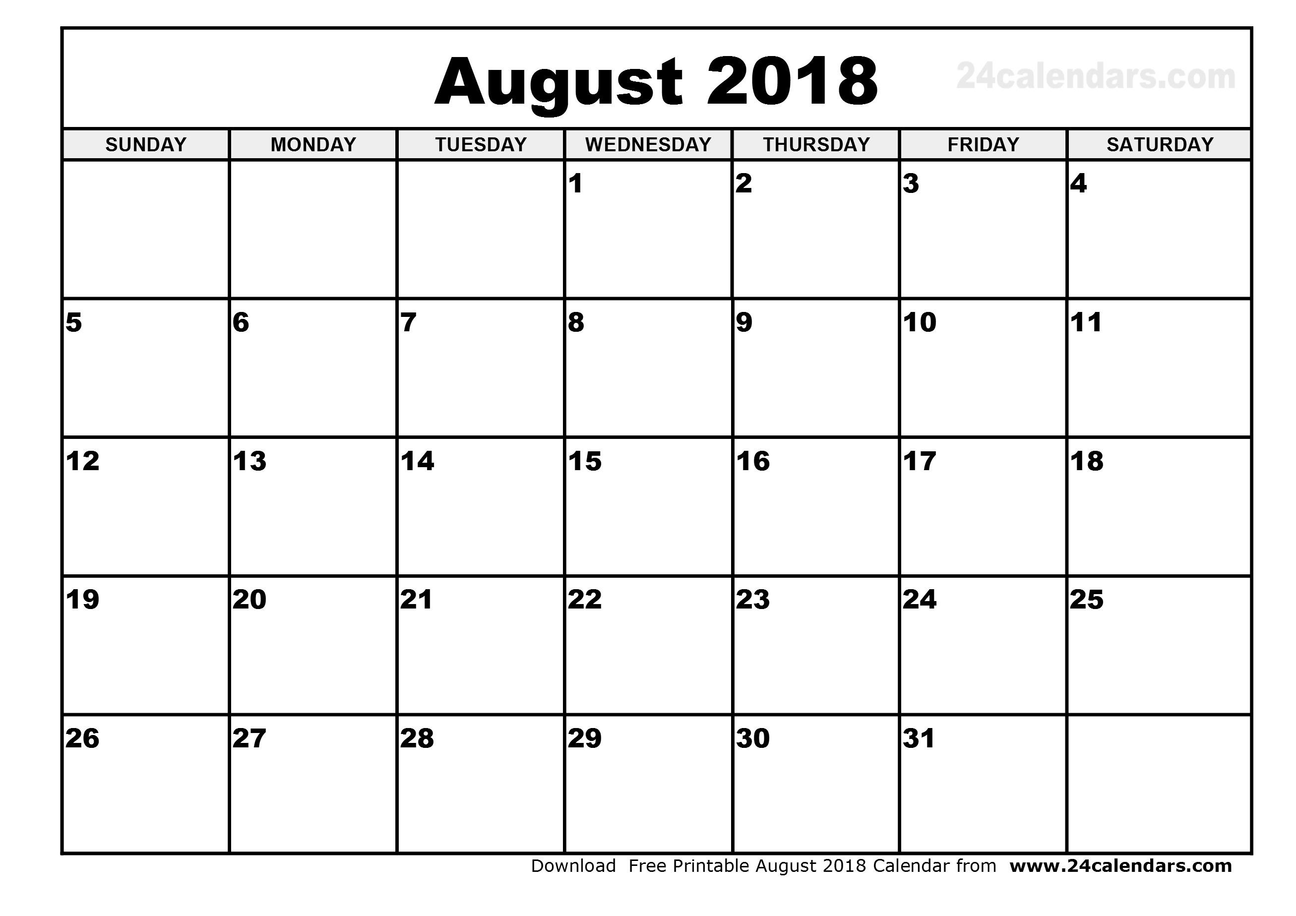 August 2018 Monthly Calendar Printable Flogfolioweekly Com Pleasing  Free Printable Month By Month Calendars
