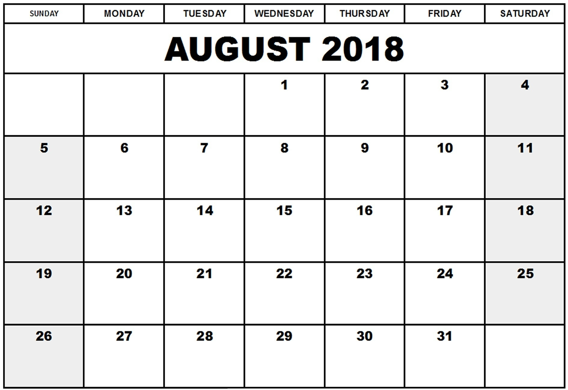 August Month 2018 Blank Calendar – Printable 2018 Calendar Templates  August Printable Calendar By Month