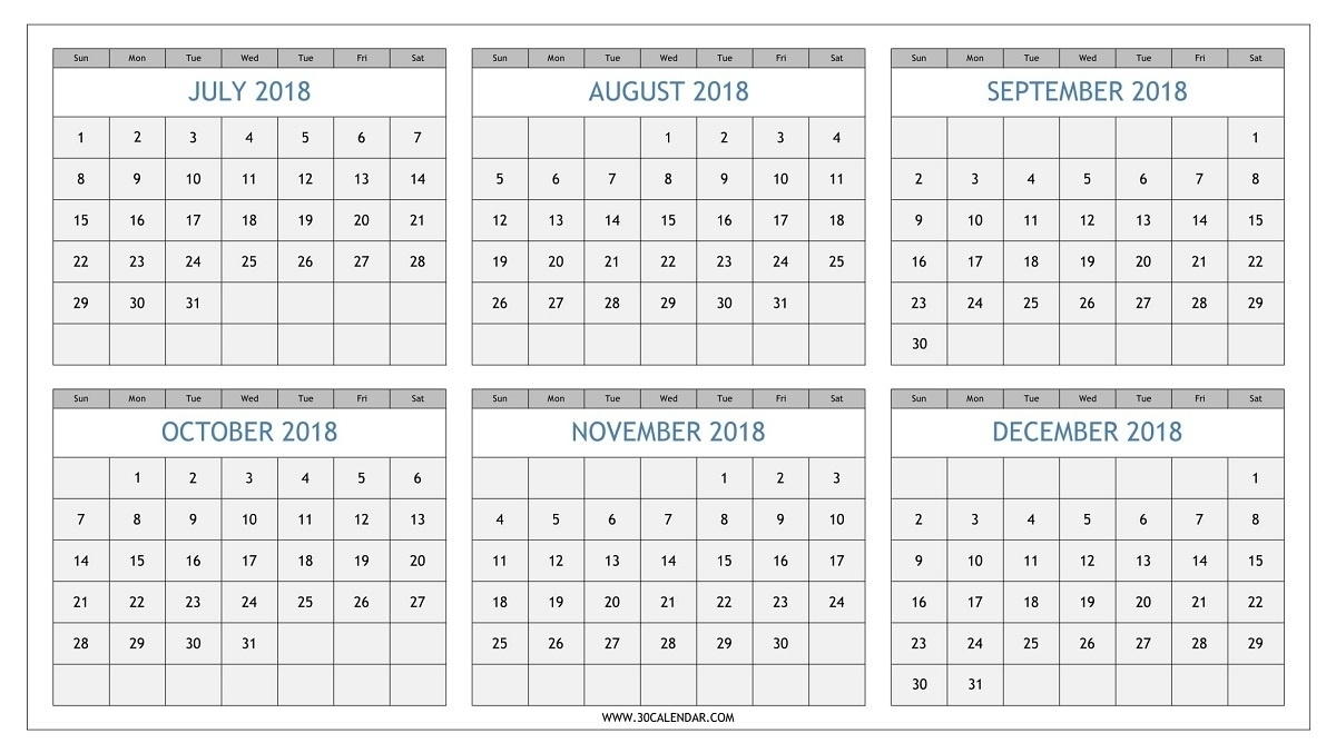 August Thru December 2018 Calendar Picture – Template Calendar Design  Calander From August - December