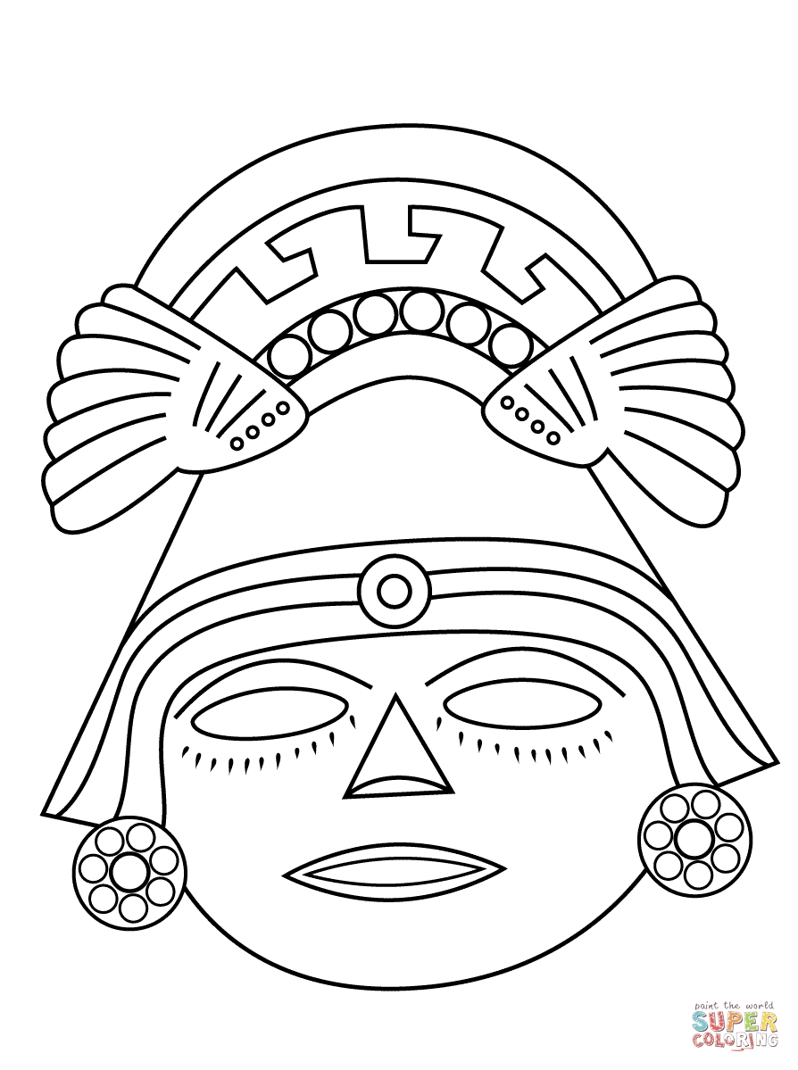 Aztec Mask | Super Coloring | Aztecas | Pinterest | Aztec  Aztec Masks And Ther Meanings