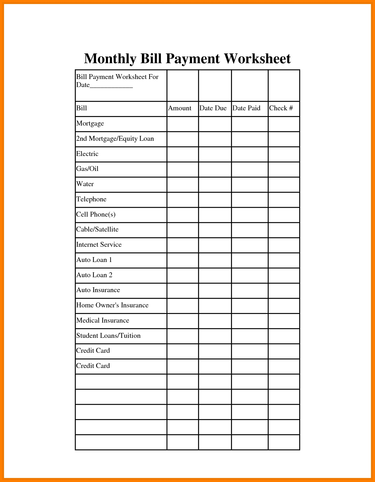 Bills Template - Gecce.tackletarts.co  Free Monthly Bill Payment Checklist Editable