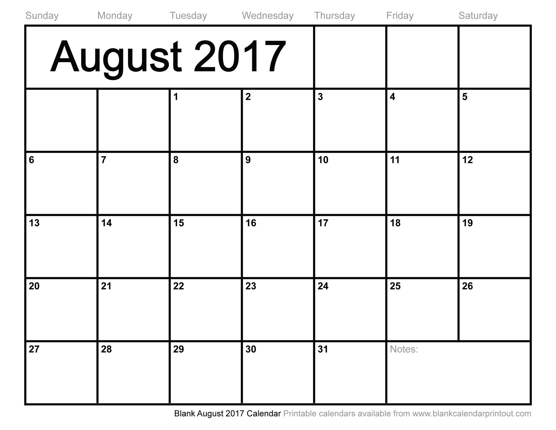Blank August 2017 Calendar To Print  August Printable Calendar By Month