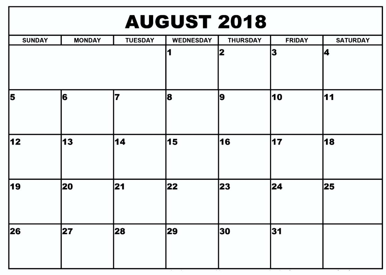 Blank Calendar August 2018Week Or Month | Printable Calendar  August Printable Calendar By Month