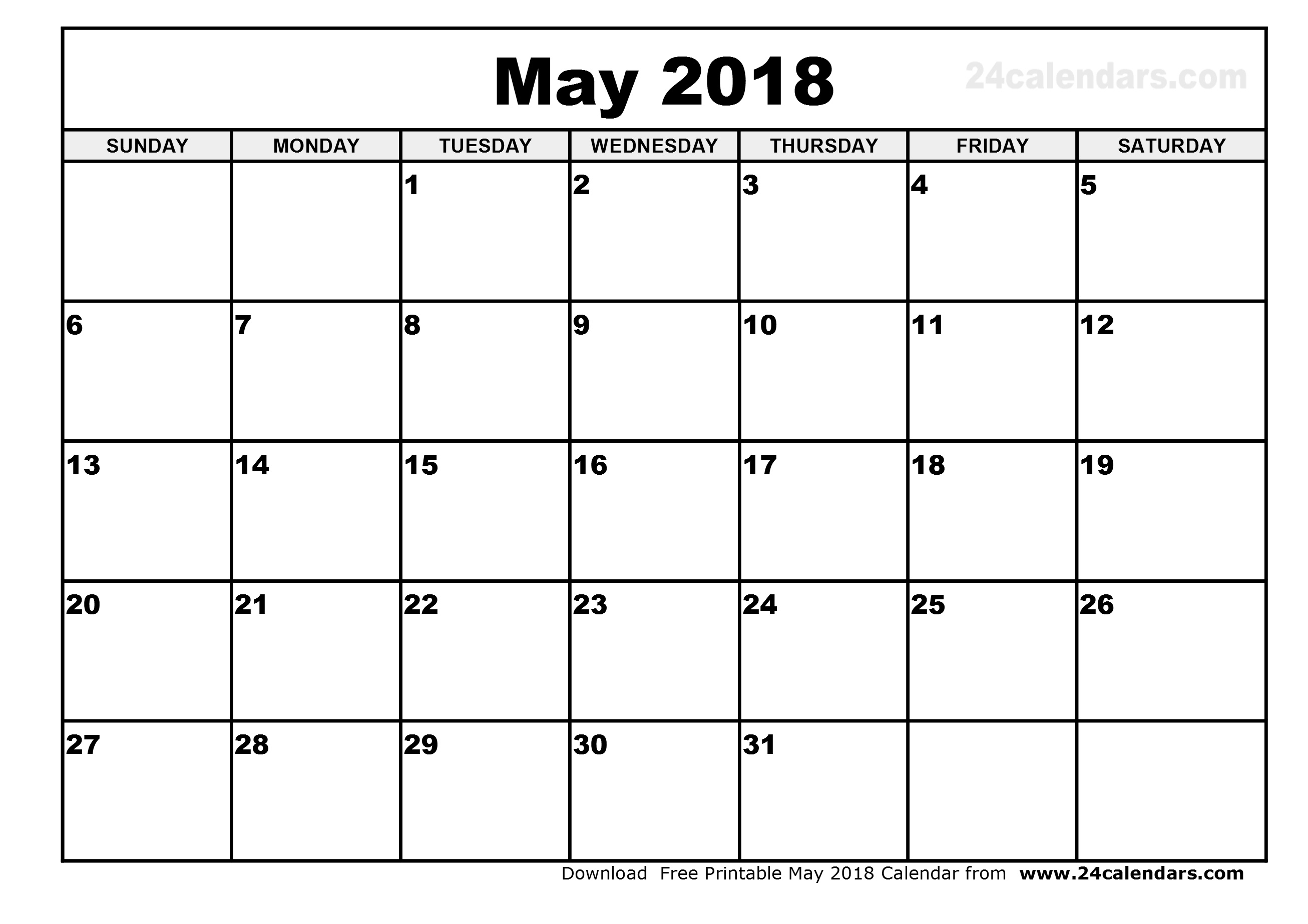 Blank Calendar For May 2018 - Gecce.tackletarts.co  Monthly Calendar Printable Template Notes Column