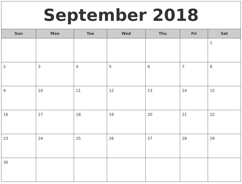 Blank September Calendar For 2018 – Business Calendar Templates  August And Septembercalendar Free Printables
