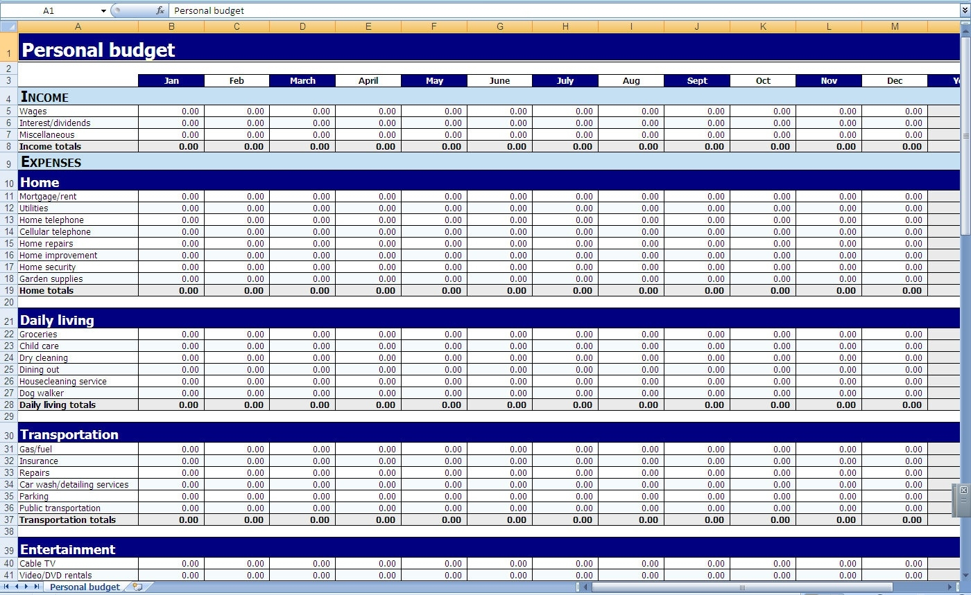 Budget Excel Template - 28 Images - Excel Spreadsheet Templates  Blank Monthly Budget Excel Spreadsheet