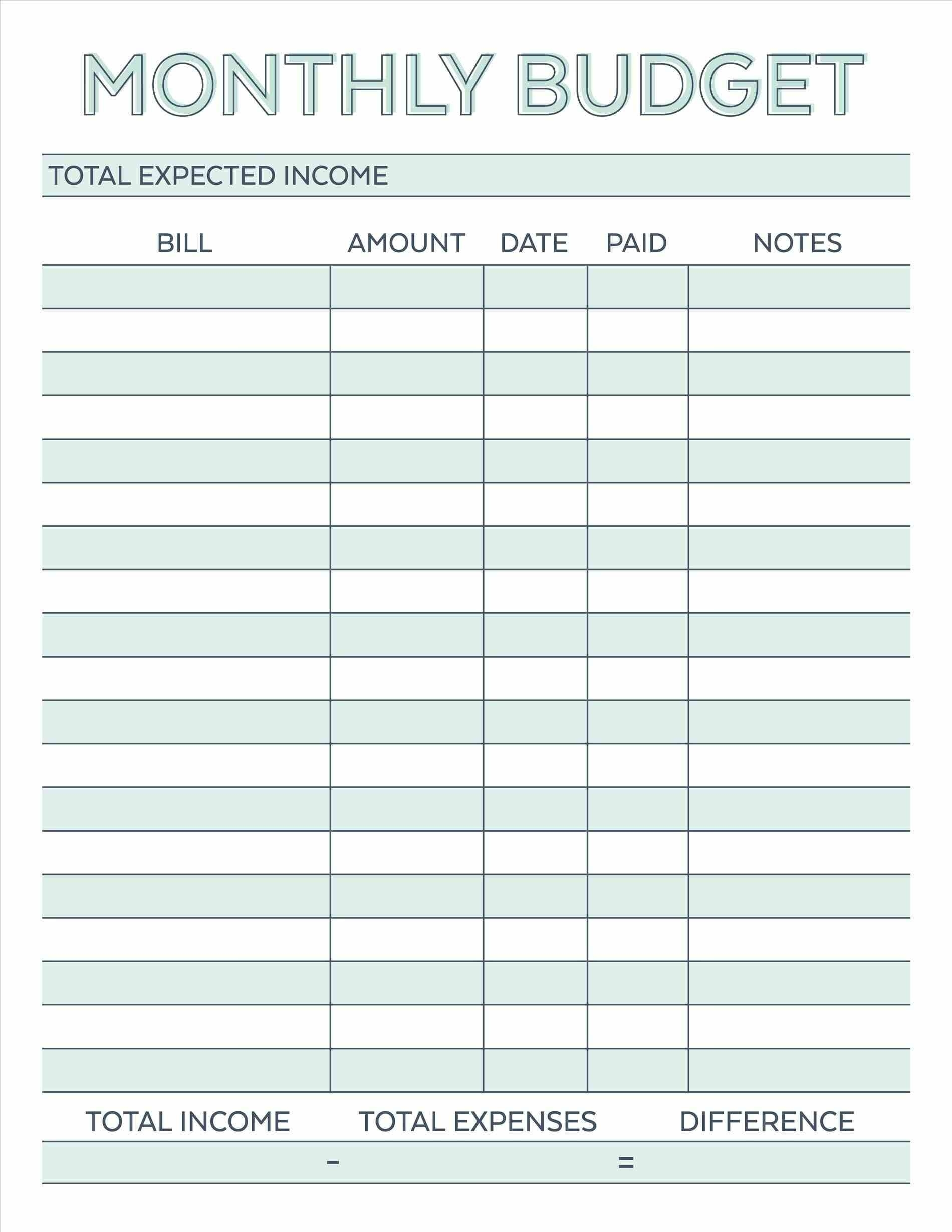 Budget Planner Planner Worksheet Monthly Bills Template Free  Monthly Bills Template With Account Number And Address