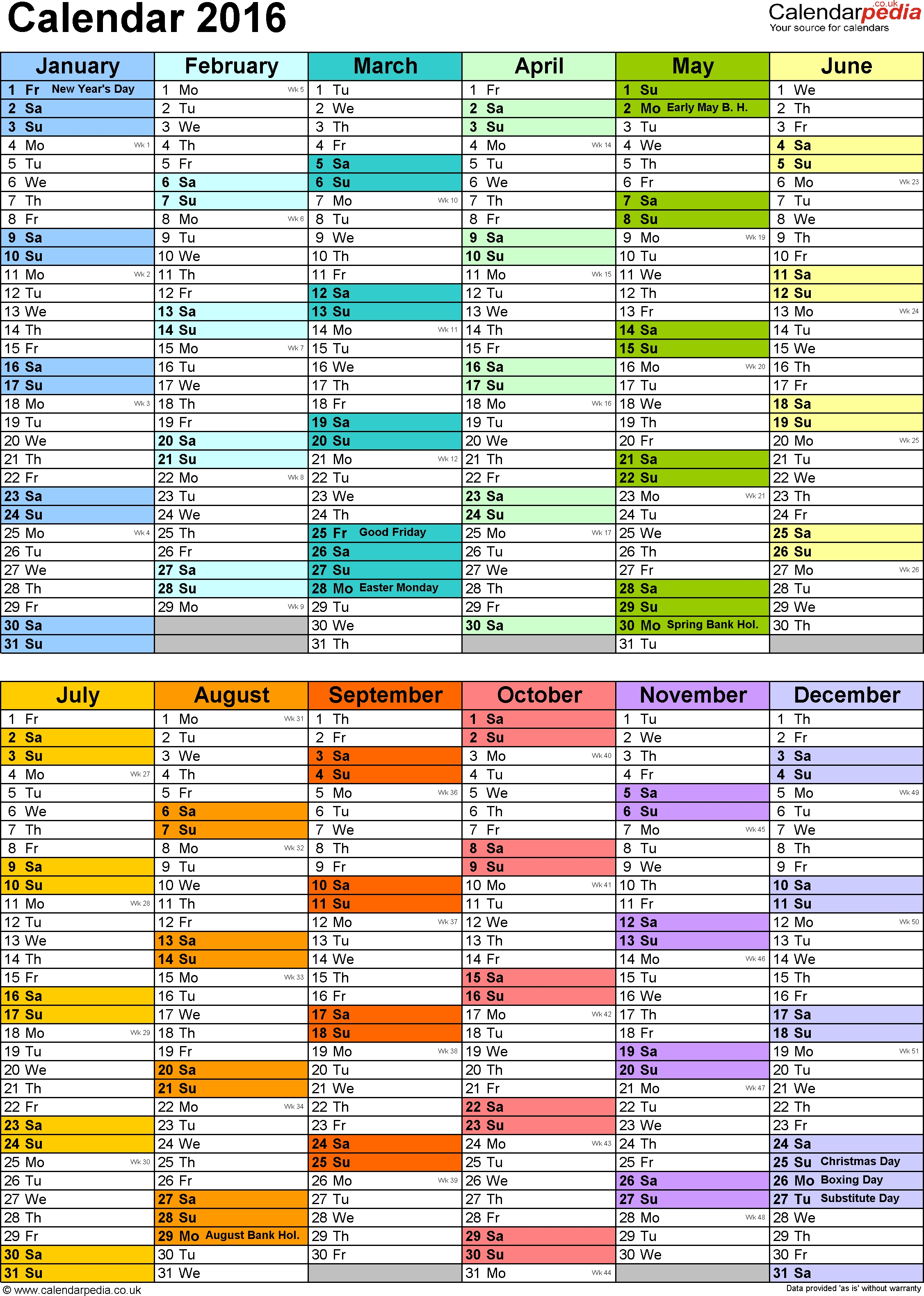 Calendar 2016 (Uk) - 16 Free Printable Word Templates  12 Month Training Calendar Template