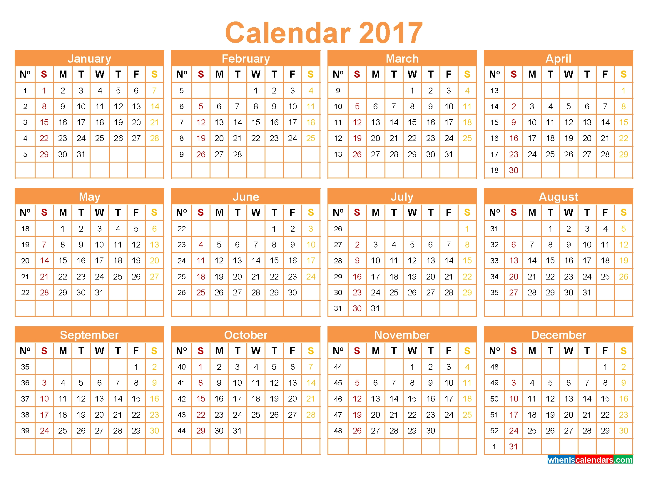 Calendar 2017 With Week Numbers Yearly Template 2018 2019 Stunning  Calendar Template With 194 Days