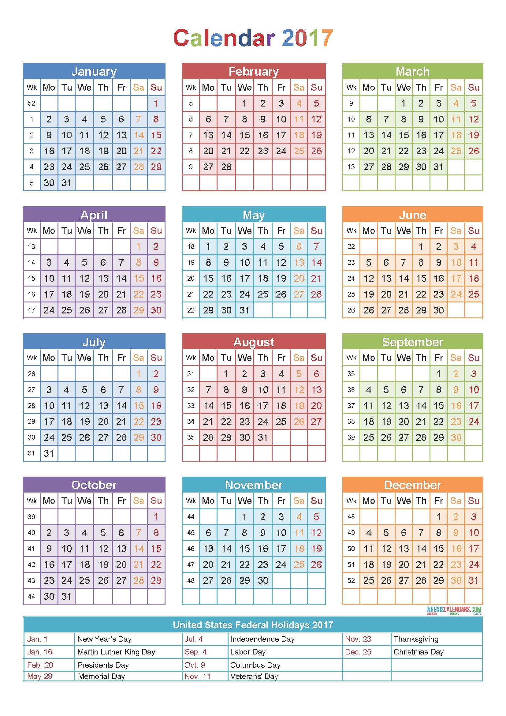 Calendar 2017Week Number | Holidays | Pinterest | Calendar 2017  Calendar By Week With Printable