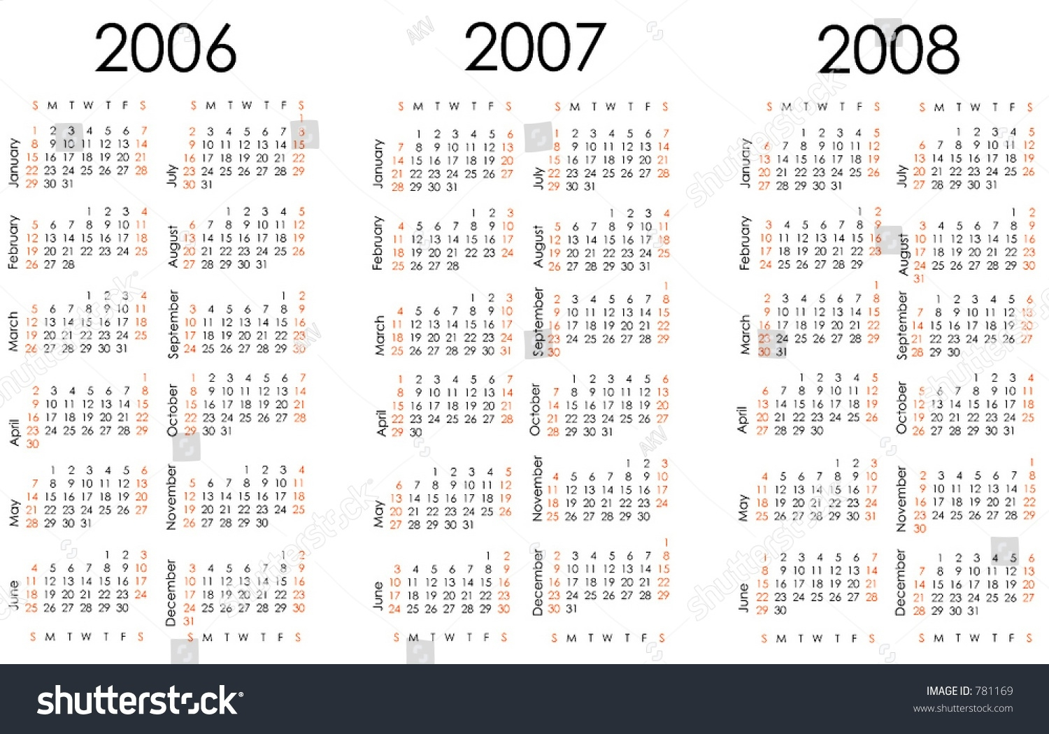 Calendar Next Three Years All Numbers Stock Vector 781169 - Shutterstock  Calendar With All The Years