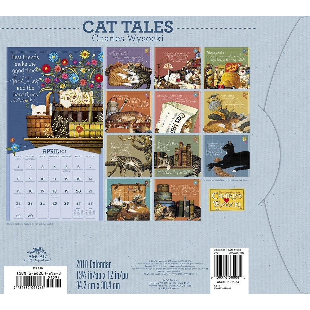 Charles Wysocki Cat Tales Deluxe Wall Calendar 2018 | Acco Brands  12 X 12 Wall Calendar Holder