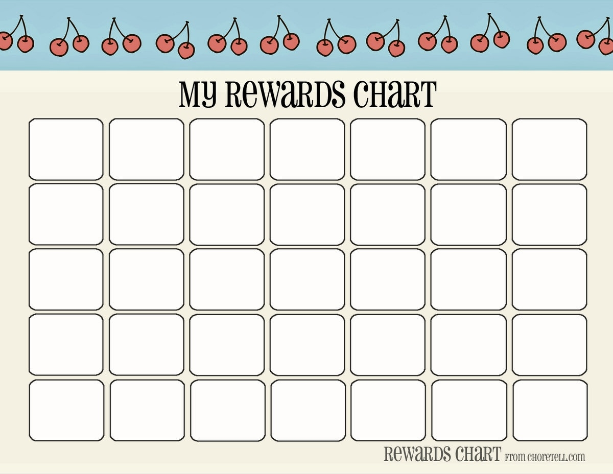 "Cherry & Strawberry-Themed Printable ""my Rewards Chart"" - Free  Monthly Behavior Chart Paper Printout"