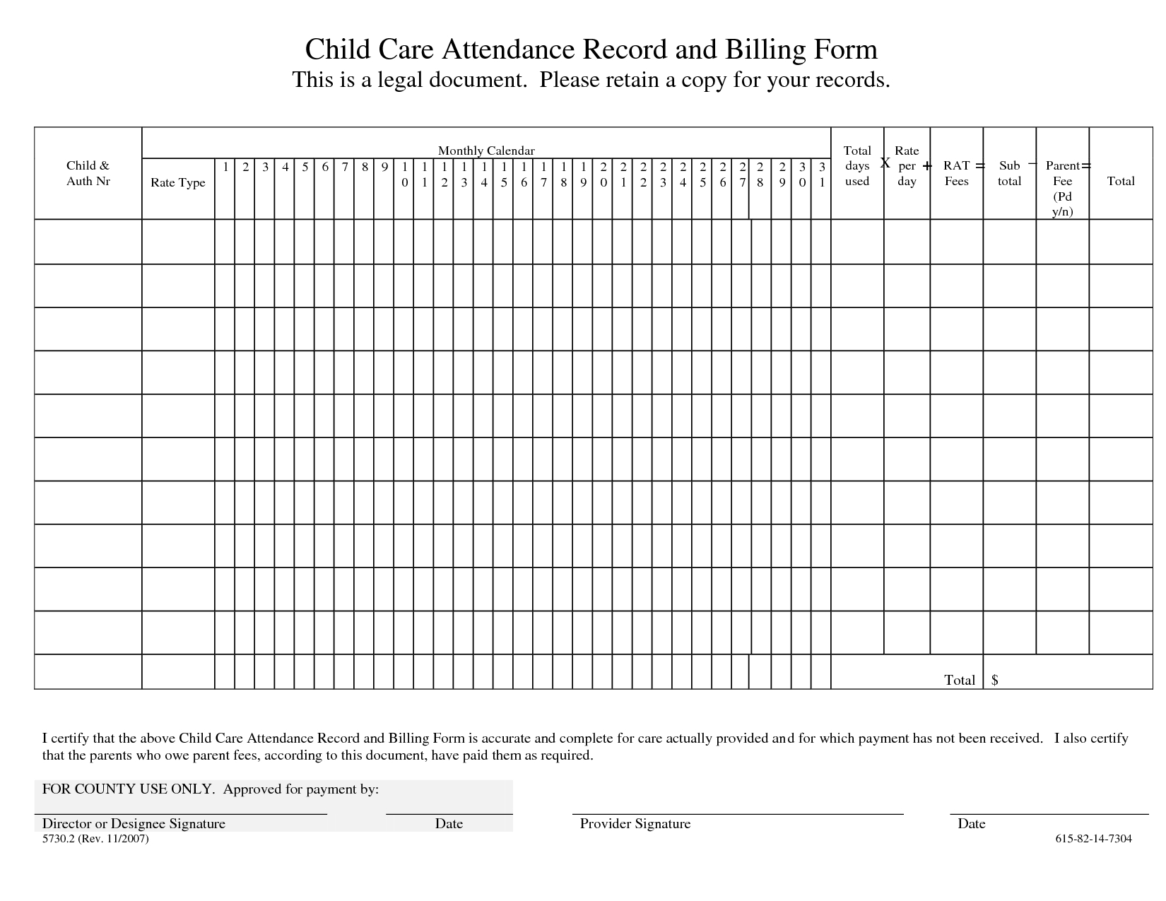 Child Care Daily Attendance Sheets - 28 Images - Daily Attendance  Day Care Attendance Sheet Template