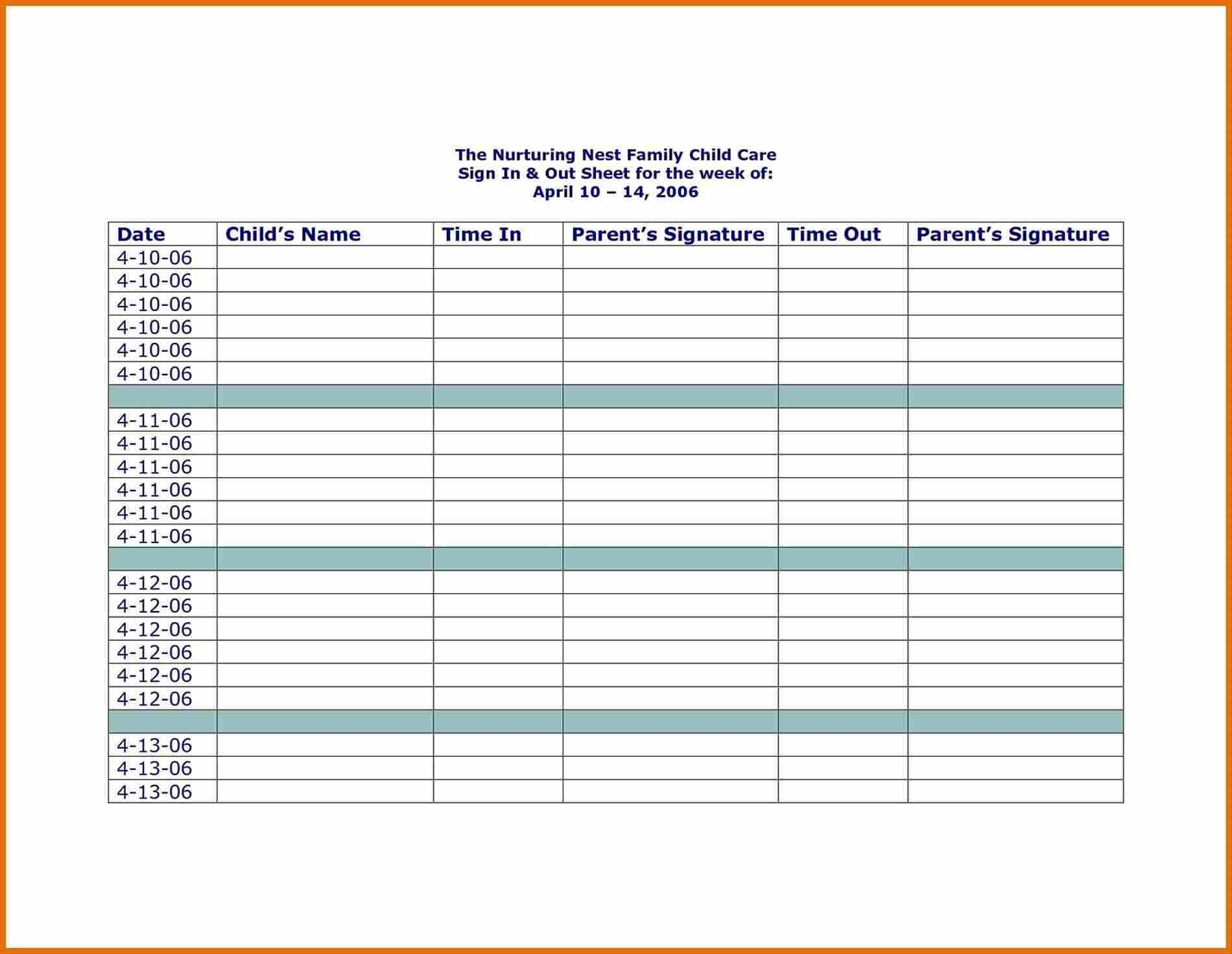 Childcare Sign In Sheet Template | Athens Eagle Wings  Day Care Attendance Sheet Template