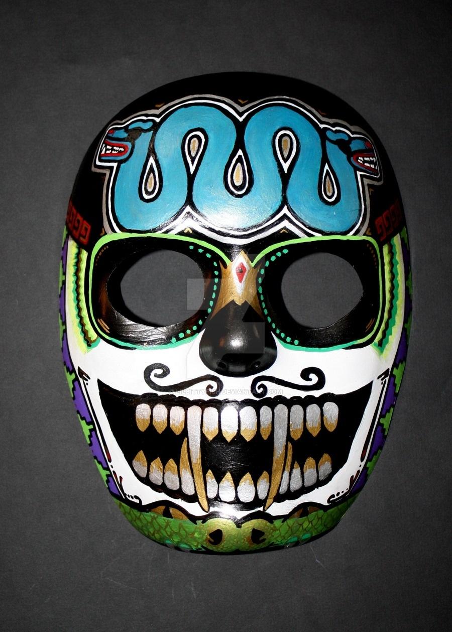 Custom Aztec Skull Masklilbittyfish On Deviantart  Aztec Masks And Ther Meanings