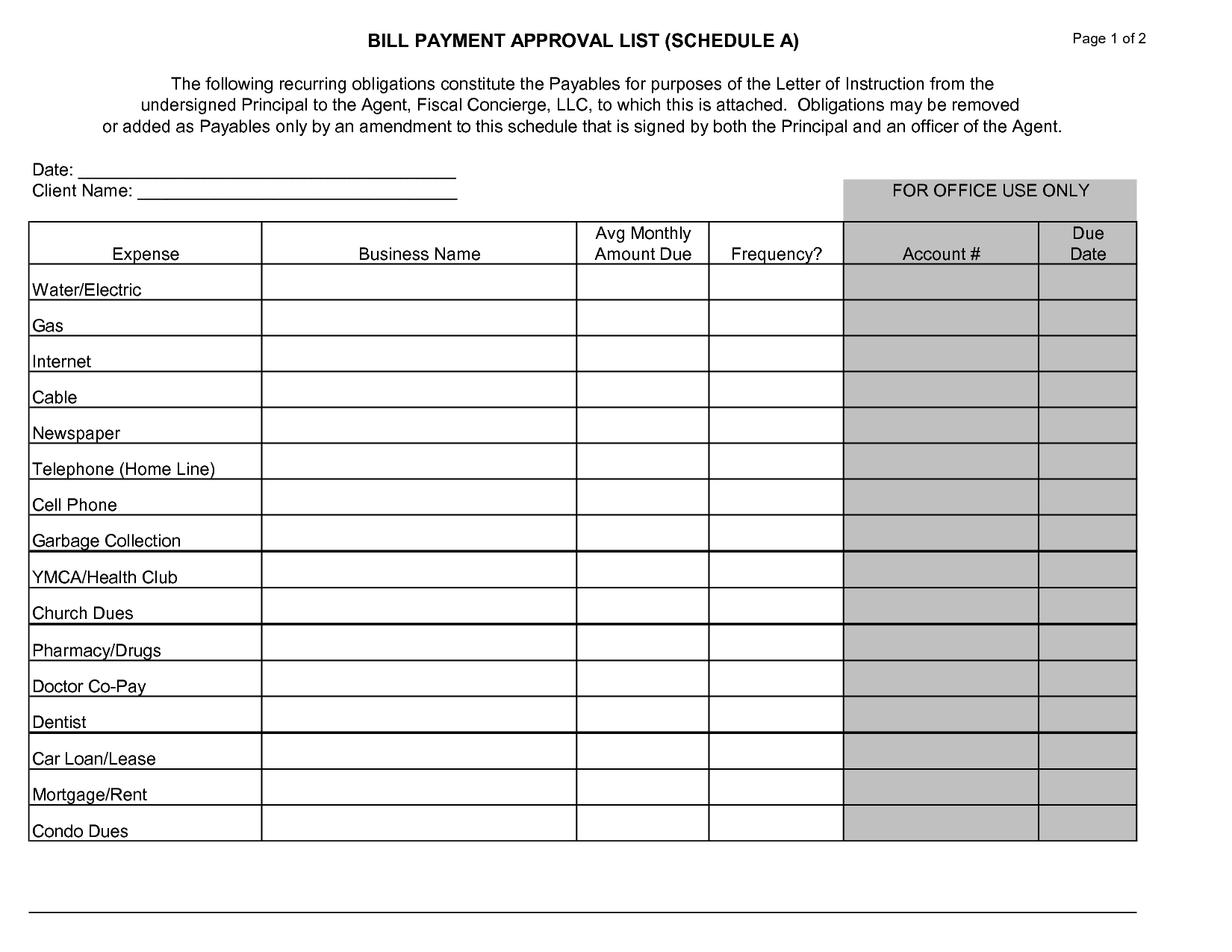 Printable Monthly Bill Payment Schedule Topsimages