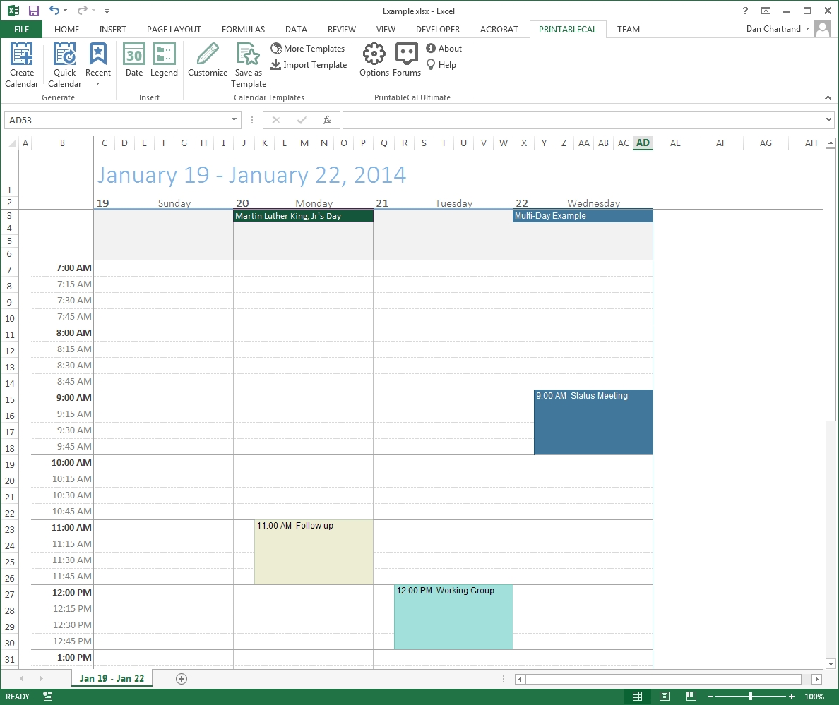 Customize And Print Calendar Templates In Excel And Word  Monthly Calendar With Time Slots