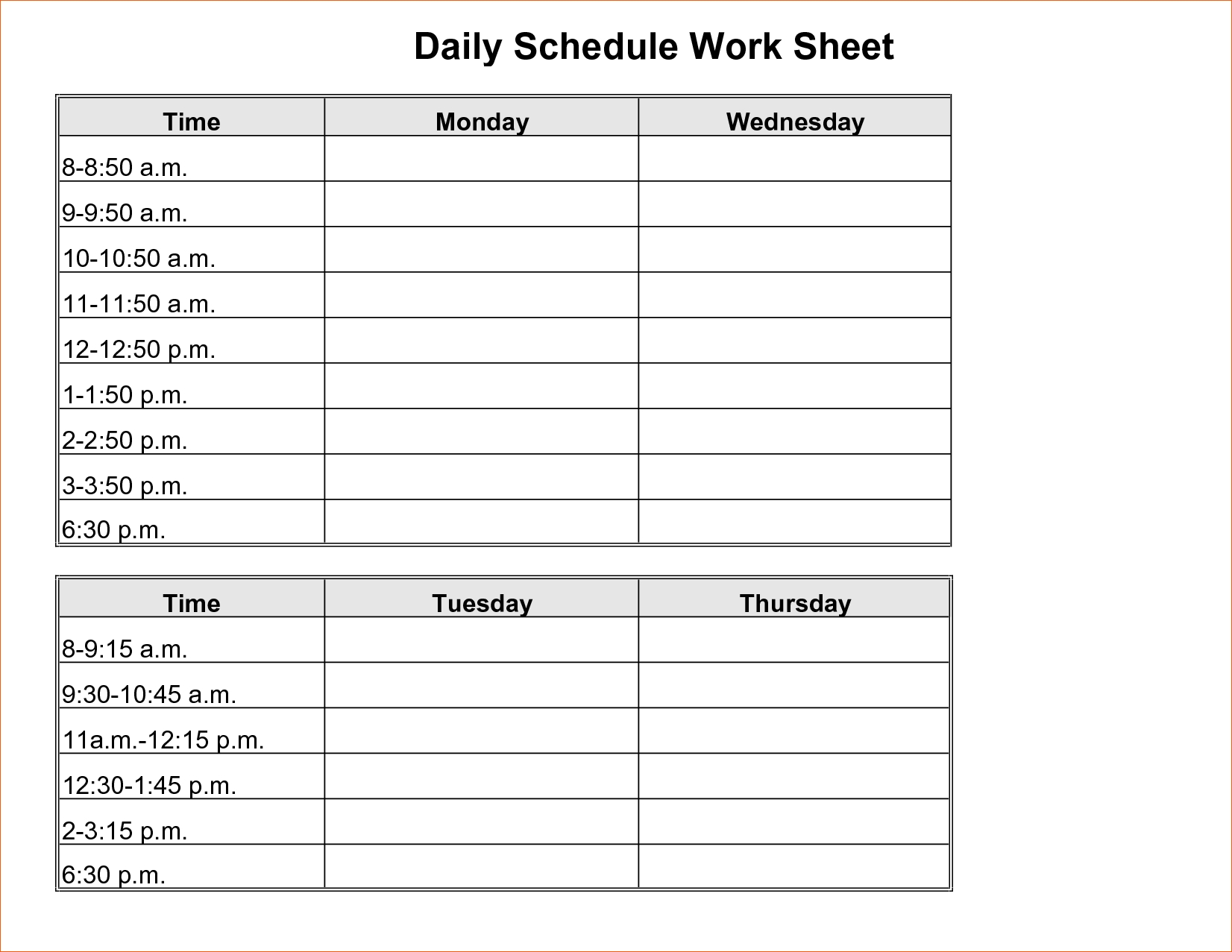 Daily Schedule With Times Printable Filename – Heegan Times  Printable Daily Schedule With Time