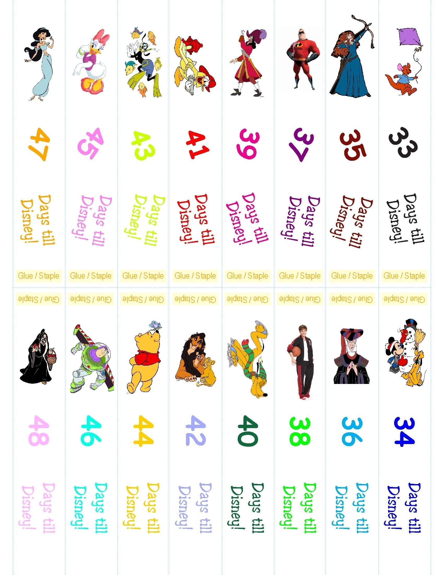 Disney Countdown Ring  99 Days To Disney Printable Calendar