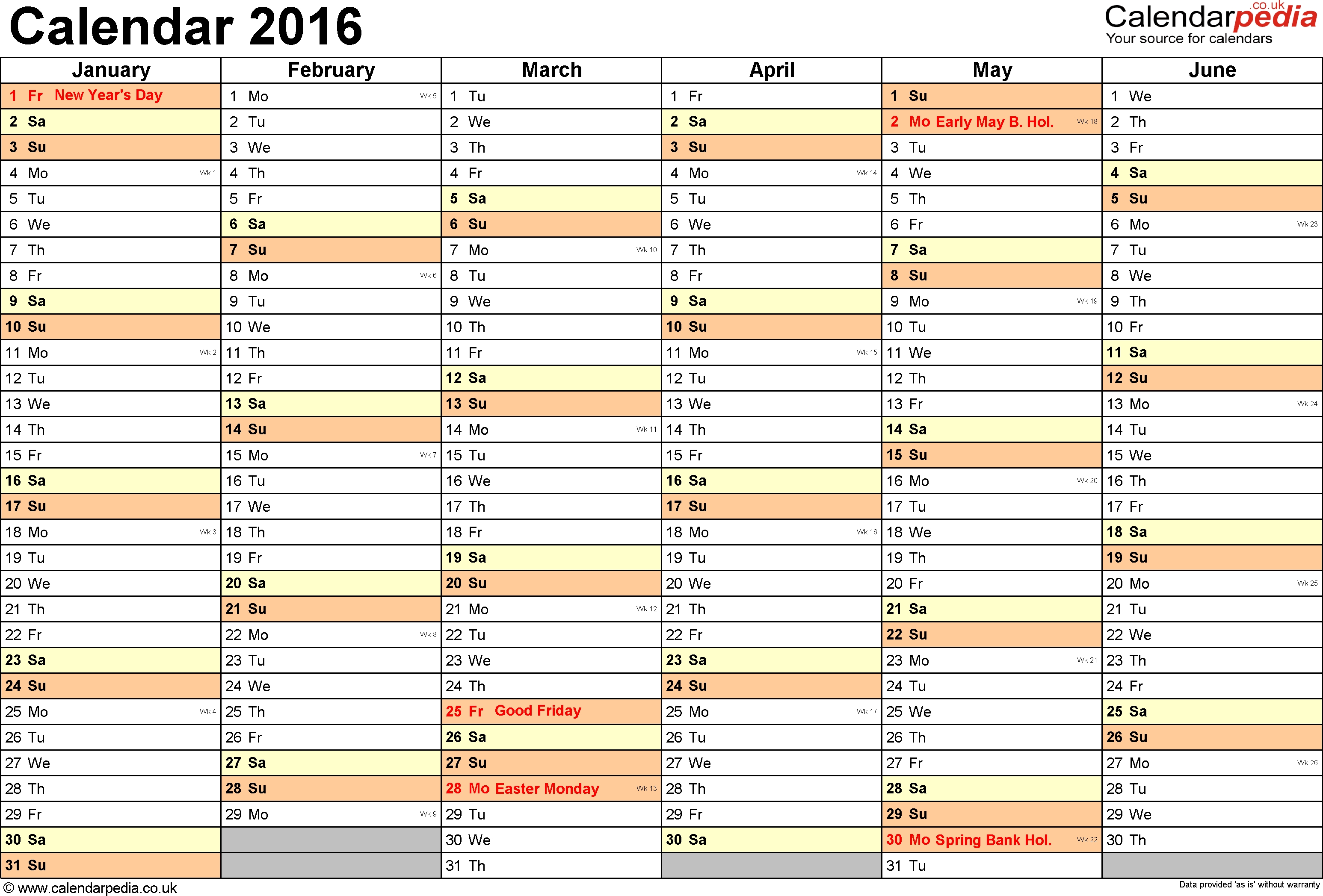 Excel Calendar 2016 (Uk): 16 Printable Templates (Xlsx, Free)  6 Weeks Holiday Timeline Template
