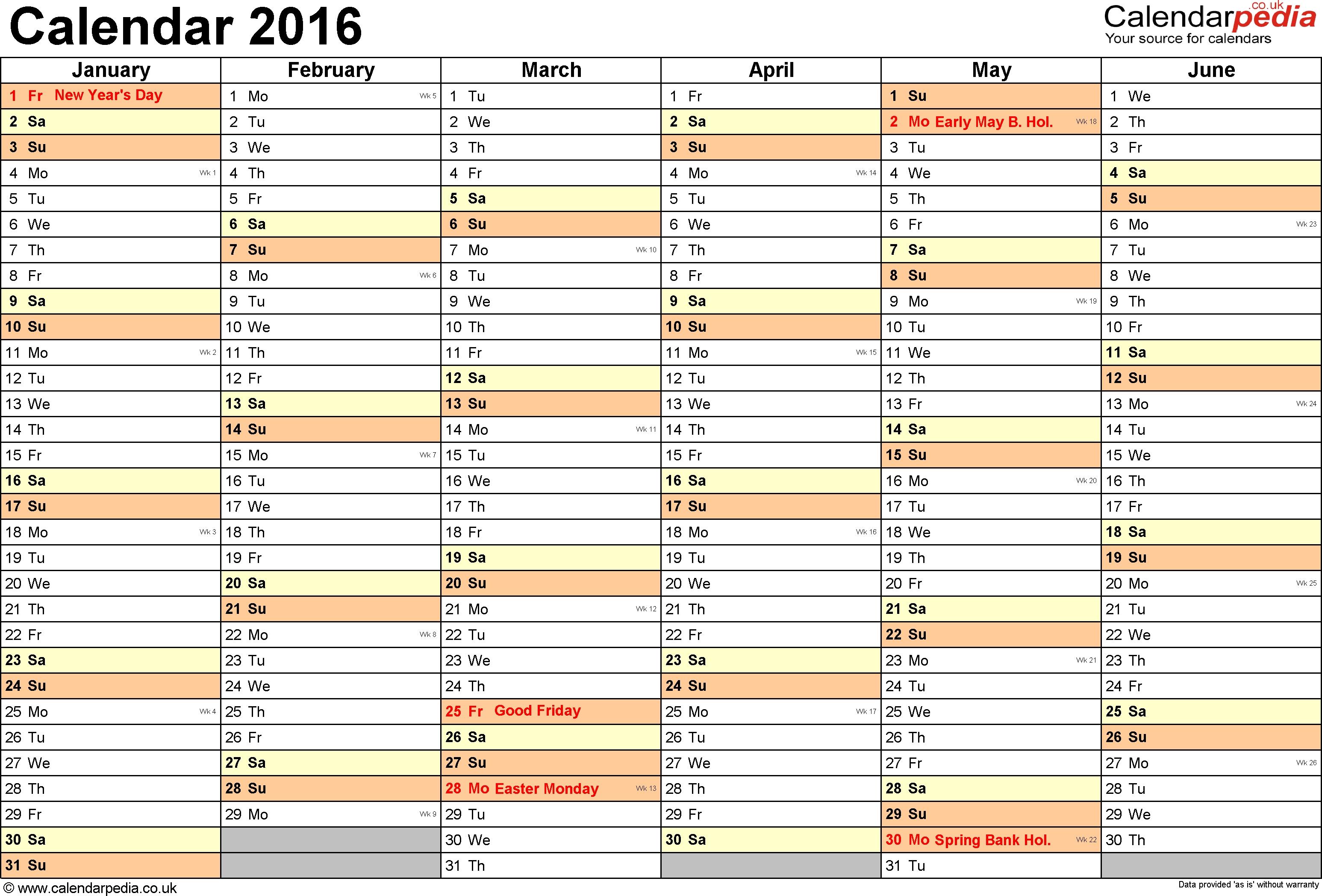 Excel Calendar 2016 (Uk): 16 Printable Templates (Xlsx, Free)  6 Weeks Holiday Timeline Template
