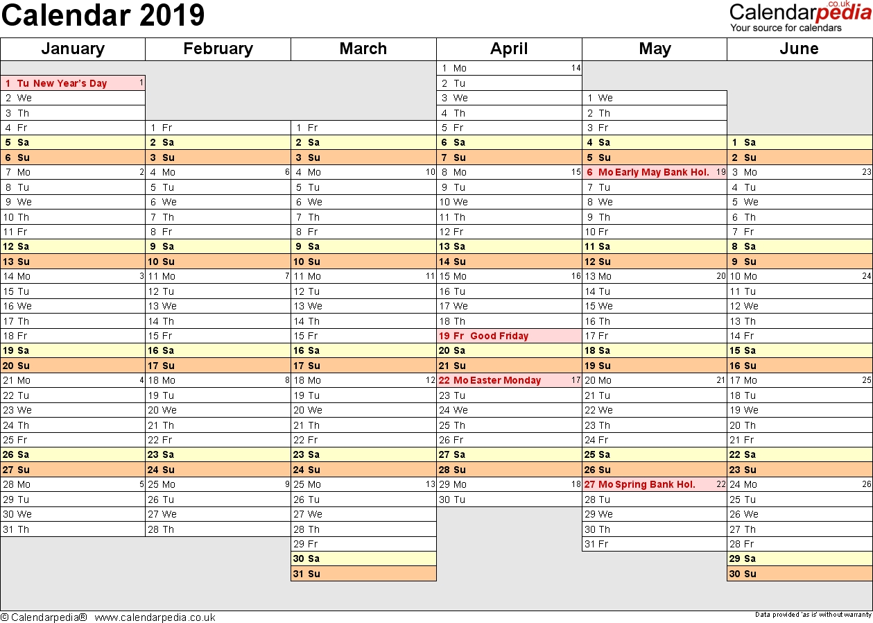 Excel Calendar 2019 (Uk): 16 Printable Templates (Xlsx, Free)  6 Weeks Holiday Timeline Template