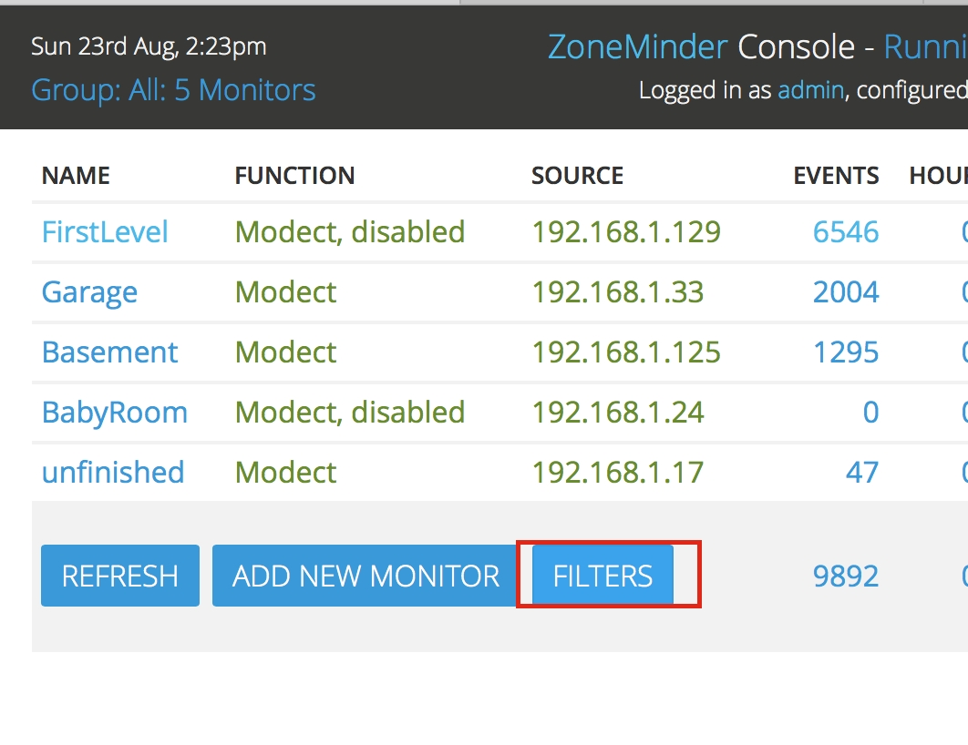 Filtering Events — Zoneminder Documentation  Example Table For 1 Month 1 Week Event Process