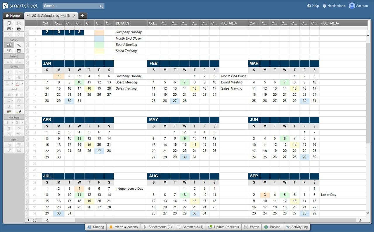 free blank calendar templates smartsheet 12 month training calendar template