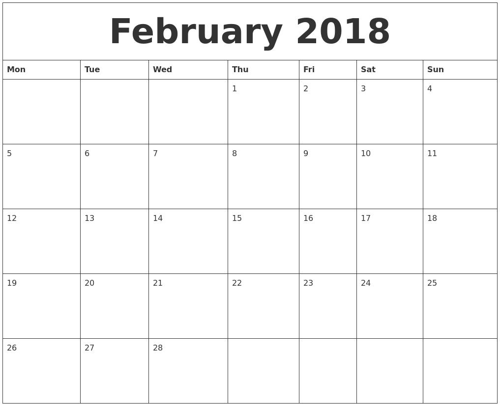 Free Blank Monthly Calendar Template 2018   Jill Davis Design  Free Editable Monthly Calendar Printable