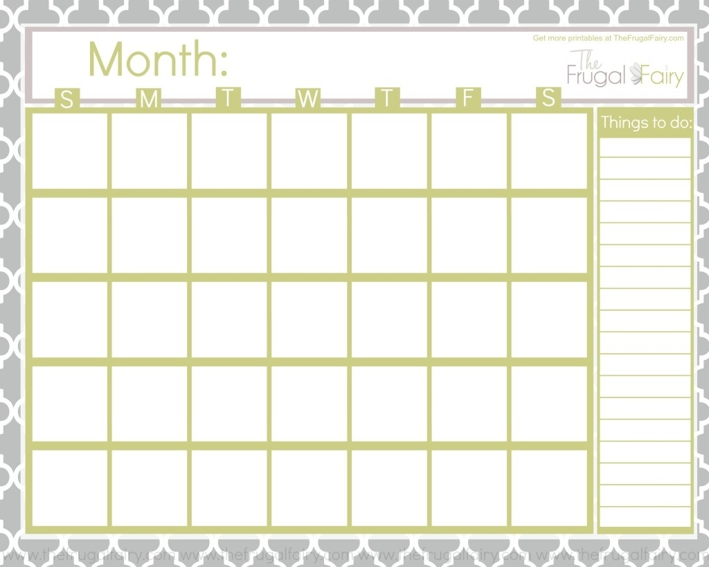 Free Blank Printable Calendar  Free Calendars To Print Without Downloading
