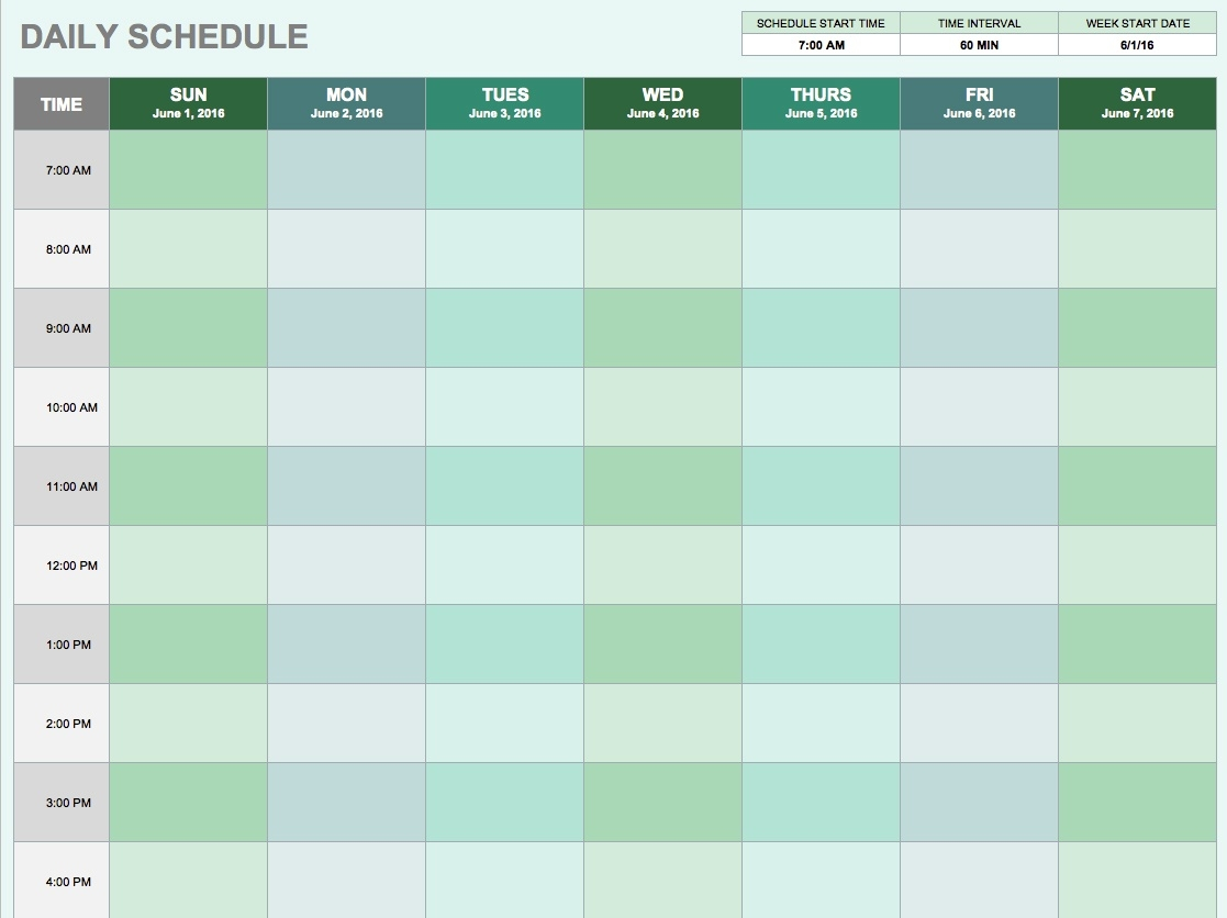 Free Daily Schedule Templates For Excel - Smartsheet  Week Schedule Template With Times