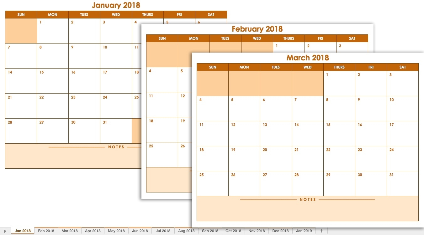 Free Excel Calendar Templates  12 Month Training Calendar Template