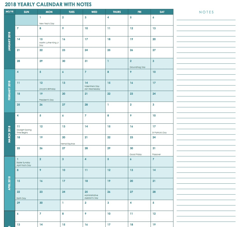 Free Excel Calendar Templates  Monthly Calendar Printable Template Notes Column