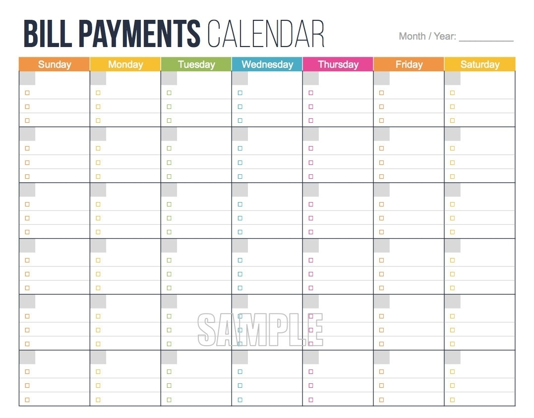Free Printable Bill Pay Calendar Template 2017 Monthly