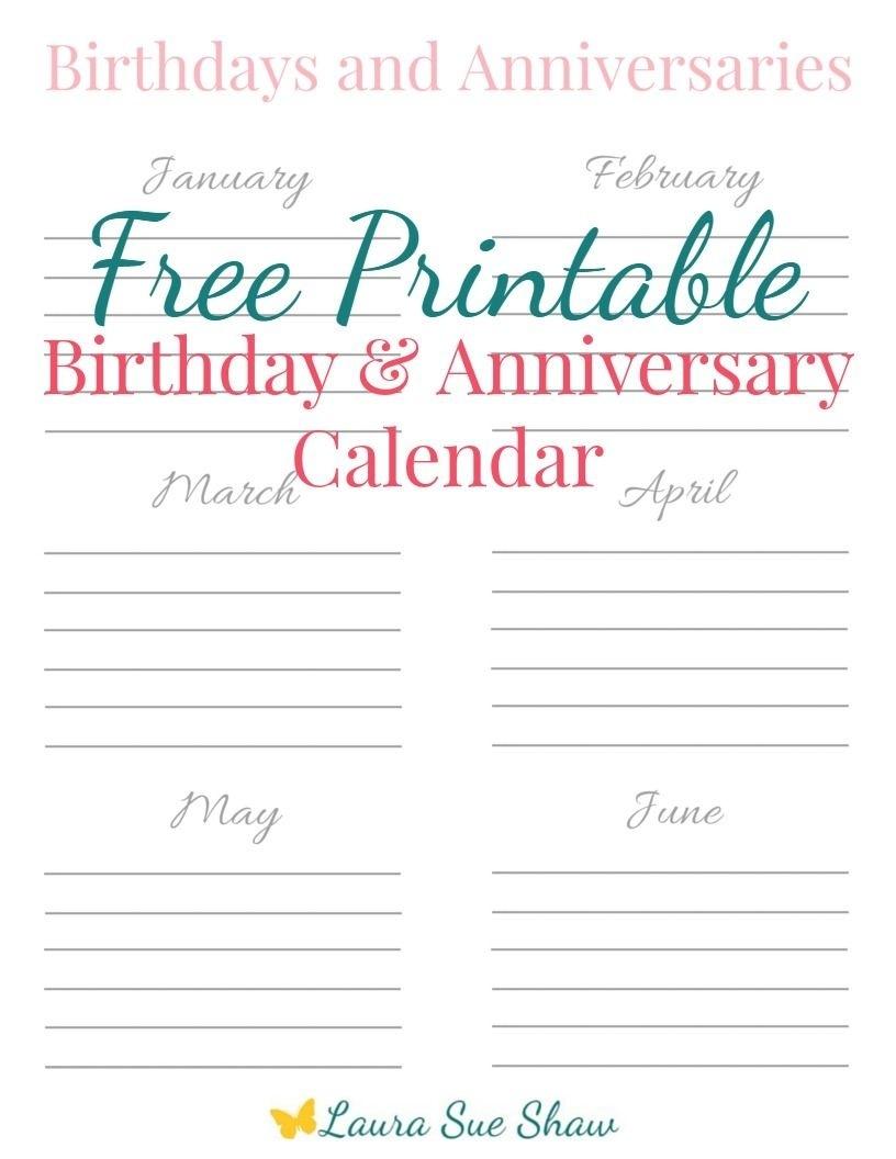 Free Printable Birthday & Anniversary Calendar | Pinterest | Free  Format For A Birthday/ Anniversary Calendar