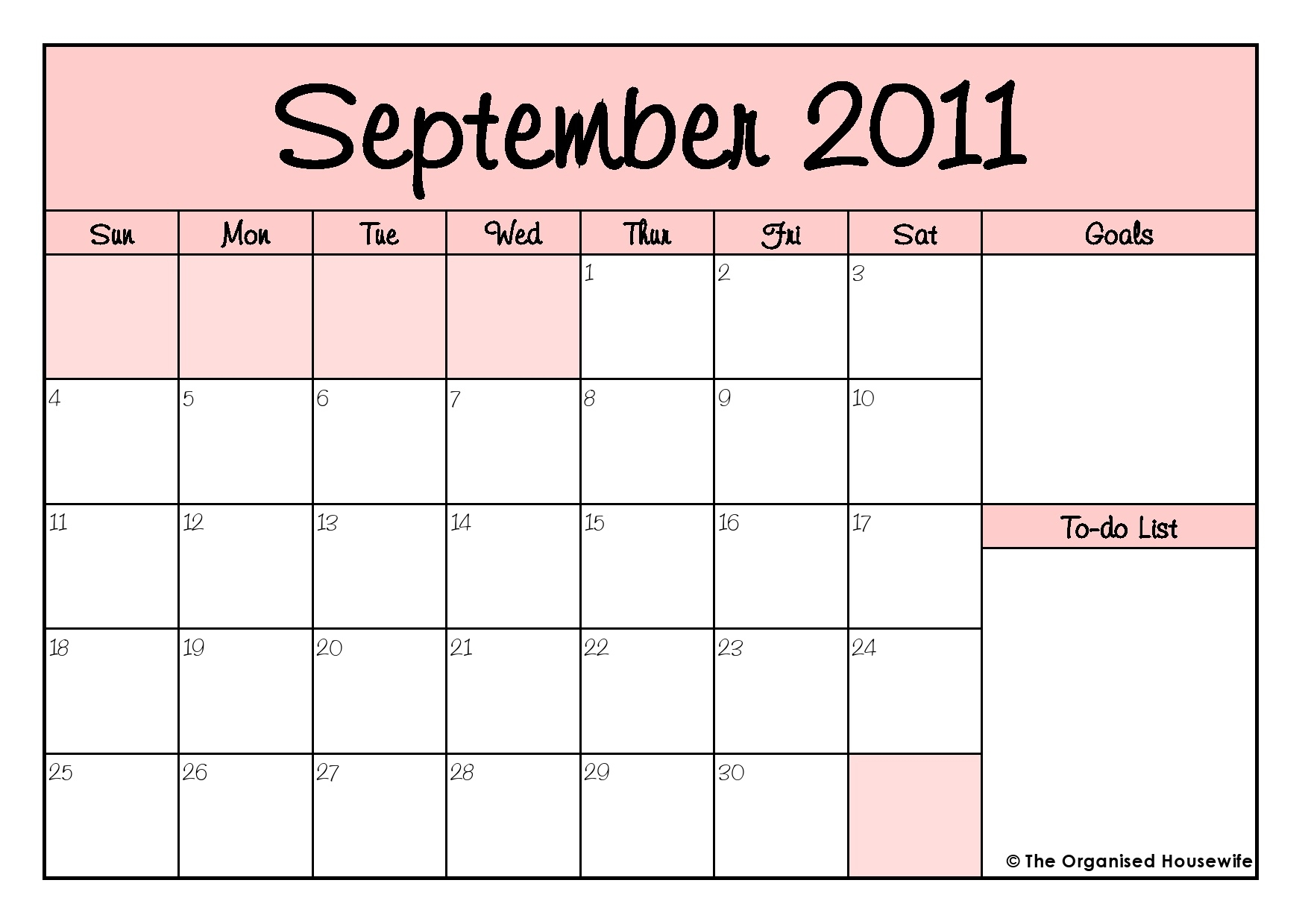 Free Printable} September Calendar And To Do List - The Organised  August And Septembercalendar Free Printables