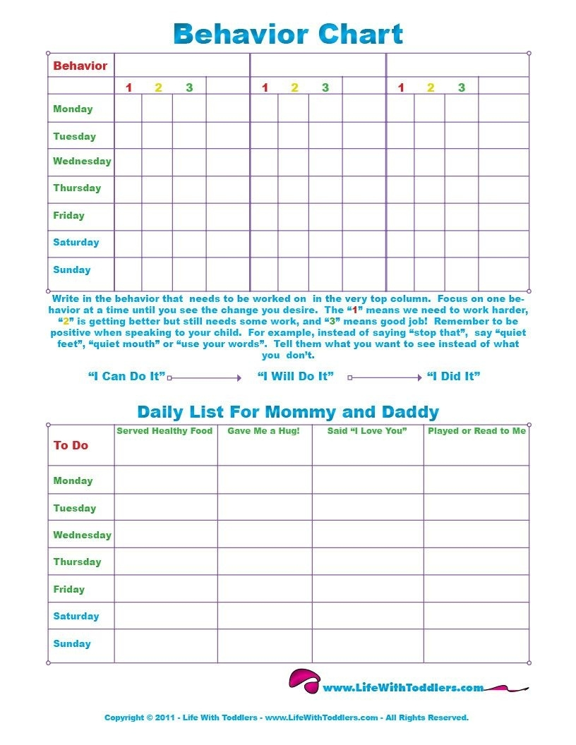 Free Printable Toddler Behavior Chart For 1, 2, 3, 4 And 5 Year Olds  Monthly Behavior Chart Paper Printout