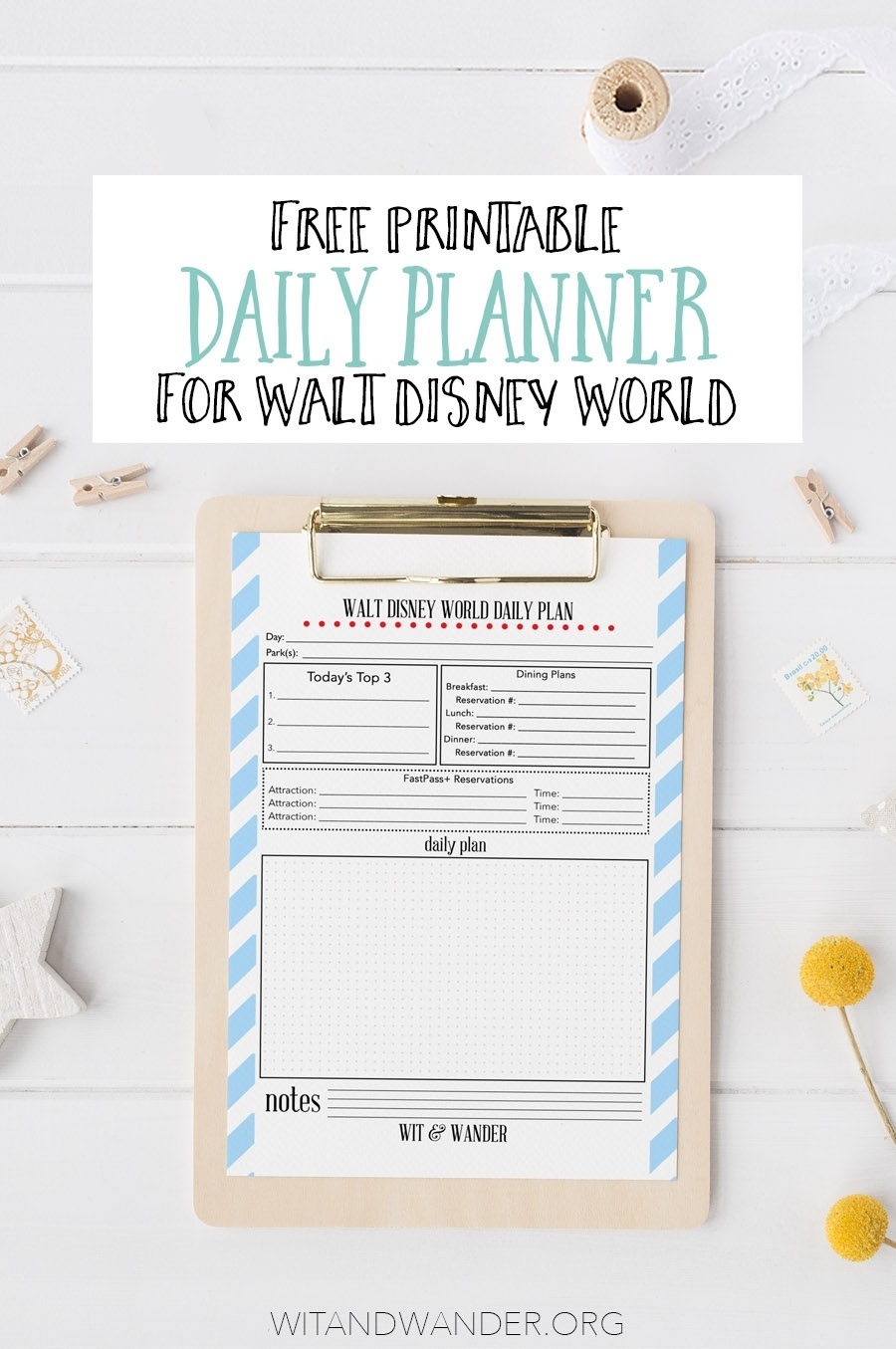 Free Printable Walt Disney World Daily Planner - Our Handcrafted Life  99 Days To Disney Printable Calendar