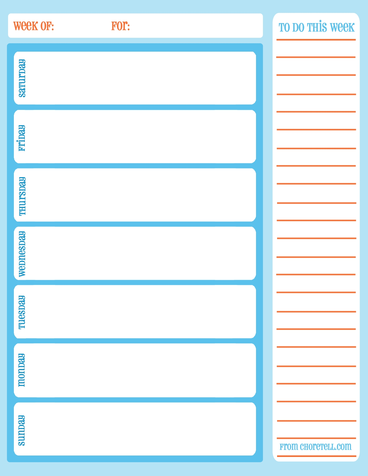 Free Printable Weekly Chore Calendar | Free Printable Downloads From  Calendar By Week With Printable