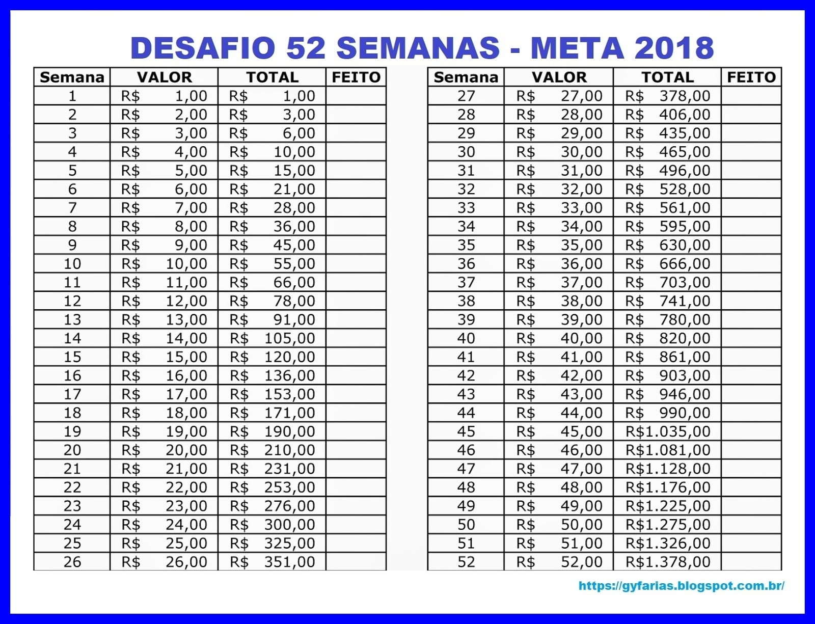 Gy Farias: Economizando Dinheiro: Desafio Das 52 Semanas  Tabela De 52 Semanas De Segunda A Sabado