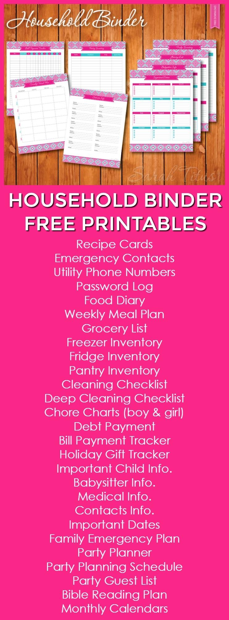 Household Binder Free Printables - Sarah Titus  Utility Bills Payment Printable List