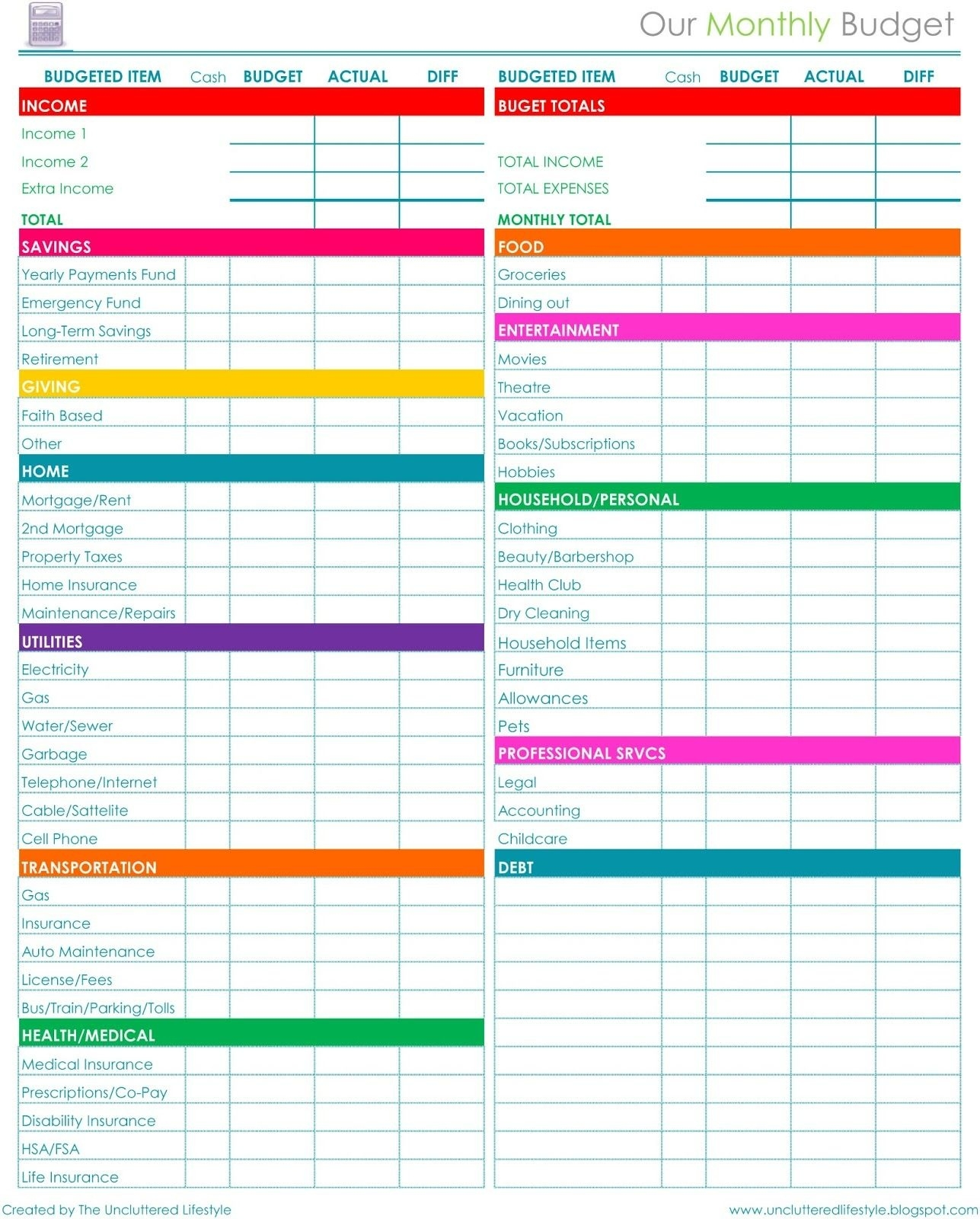 How I Keep The House Running - Part 2 … | Budget |…  Blank Monthly Budget Excel Spreadsheet